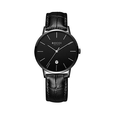 BOCCI Genuine Leather Band Watches Quartz Watches for Men Minimalist Wrist Watch with Date Fashion Casual Watch (Black) 並行輸入品