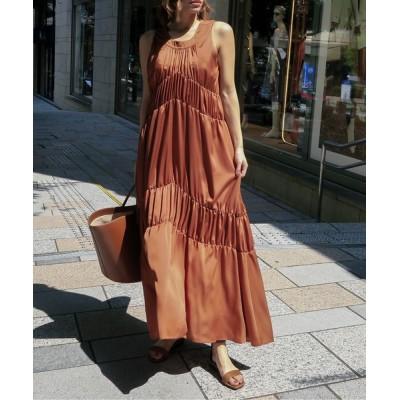 ドレス vintage satin gather dress