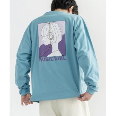 (Rocky Monroe/ロッキーモンロー)ロンT カットソー メンズ レディース Tシャツ 長袖 カジュアル ストリート オーバーサイズ ビッグシルエット ドロップショルダー クルーネック ユニセックス/ユニセックス サックス