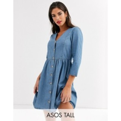 エイソス レディース ワンピース トップス ASOS DESIGN Tall soft denim tea dress in midwash blue Midwash blue