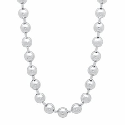 The Bling Factory Men's 6.5mm Rhodium Plated Ball Military Bead Chain Necklace, 36 inches