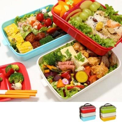 ピクニックランチボックス お弁当箱 レジャーランチボックス 3段 取り皿付き カラフル ( お重 運動会 行楽 )