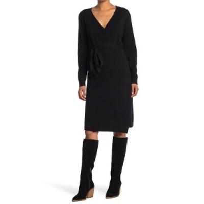 スティッチドロップ レディース ワンピース トップス Wrap It Up Sweater Dress BLACK