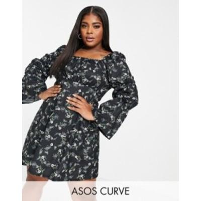エイソス レディース ワンピース トップス ASOS DESIGN Curve mini tea dress with bubble ruched sleeves in black base floral Black b