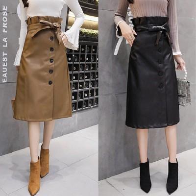 即納 お洒落な上質 韓国ファッション トレンチスカート 大きいサイズ スカート 大きい ラップスカート ハイウエスト フェイクレザー ミディアム 無地 ウエストリボン ブラック