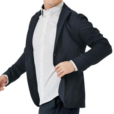 ベルーナ ウールライクストレッチジャケット ネイビーチェック L メンズ
