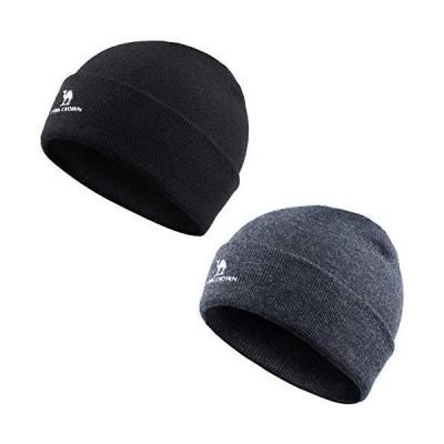 CAMEL CROWN 2パック ニット帽 クラシック 暖かい 冬 ニット帽 折り返しニット帽 男女兼用 US サイズ: Large