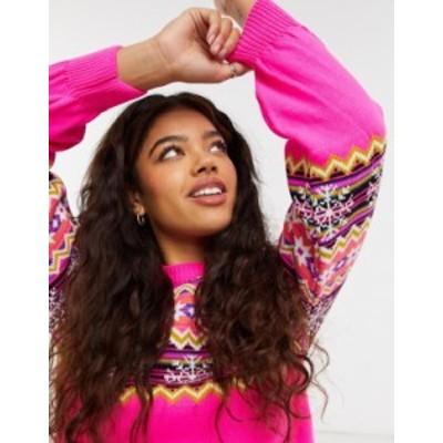 エイソス レディース ニット・セーター アウター ASOS DESIGN fairisle sweater in bright pink Pink
