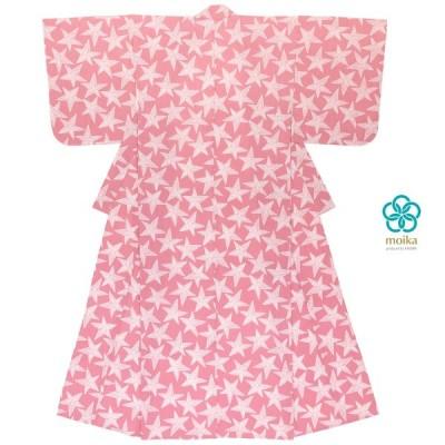 浴衣 レディース レトロ moika ピンク 星 スター 刺し子風 小紋柄 綿 変わり織り 夏祭り 花火大会 女性用 仕立て上がり 送料無料