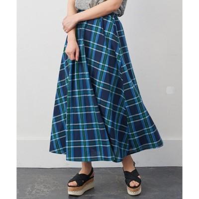 スカート IEDIT 大人チェック柄のフレアーロングスカート