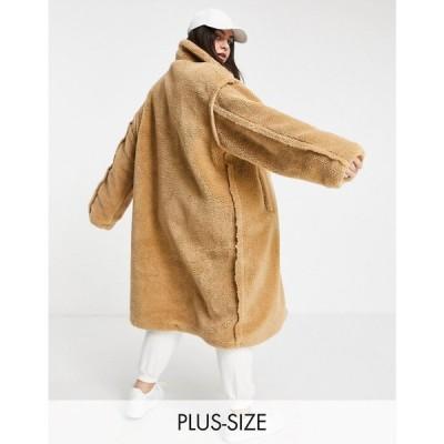 シックスジューン Sixth June Plus レディース コート アウター Oversized Overcoat In Teddy Borg ブラウン