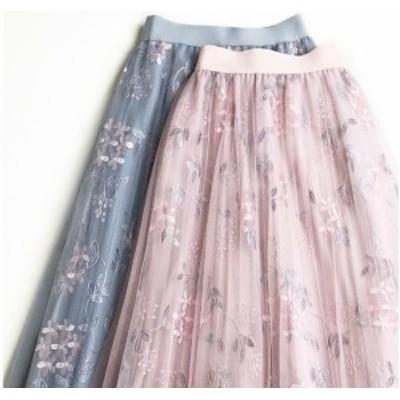 花柄刺繍チュールスカート ロングスカート フレアスカート Aラインスカート プリーツスカート レディース 韓国 オルチャン ファッション