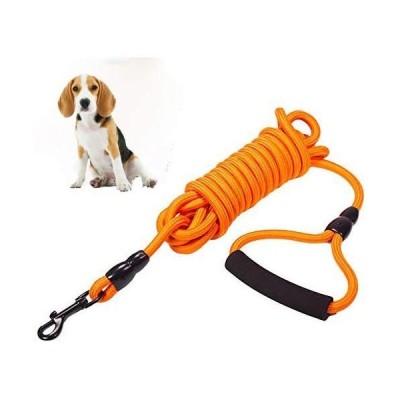 (ロングリード 10m イエロー) 丸ロープ 軽量 ロングリード 中型犬 大型犬用 丈夫で耐久性のある犬のリード、屋外の散歩や遊びに最適な長さ調節の可