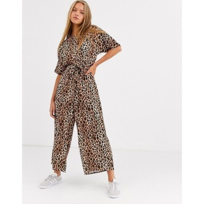 エイソス レディース ワンピース トップス ASOS DESIGN tie waist jumpsuit in leopard print Leopard print