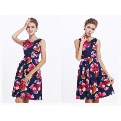 夏 ワンピース ドレスワンピース パーティードレス 花柄 半袖 ノースリーブ ドレス パーティー レディース 大きいサイズ 3L フレア シフ