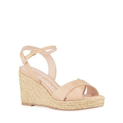 スチュアート ワイツマン レディース サンダル シューズ Rosemarie Patent Leather Wedge Espadrille Sandals