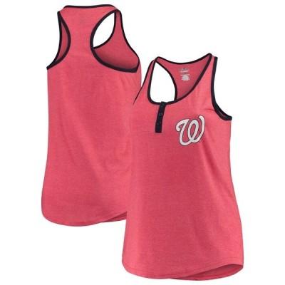 マジェスティック Tシャツ トップス レディース Washington Nationals Majestic Women's Plus Size 3-Button Fleck Yarn Tank Top Heathered Red
