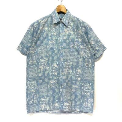 DECADE コットン 半袖 アロハシャツ 総柄 ブルー 水色 メンズM 古着【SA30】【SA2107】