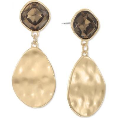 スタイル&コー Style & Co レディース イヤリング・ピアス ドロップピアス Gold-Tone Stone & Hammered Disk Drop Earrings Brown