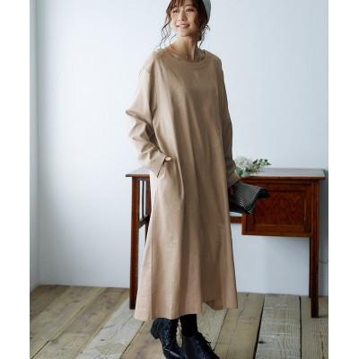 やさしい木の実柄のナチュラルワンピース【ゆったりワンサイズ】 (ワンピース)Dress