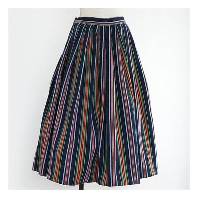 1950年代アメリカ製コットンカラフルストライプざっくり綾織りスカート