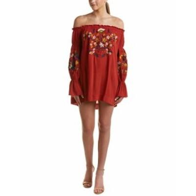 Selfie  ファッション ドレス Selfie Leslie Off-The-Shoulder Embroidery Dress S