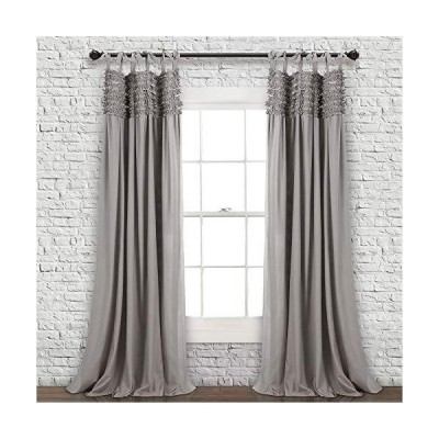 Lush Decor, Gray Lydia Curtains Ruffle Window Panel Set for Living, Dining,