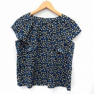 【中古】L'AMOUR MARGUERITE カットソー Tシャツ 半袖 小花柄 フリル袖 38 ネイビー 紺 /ST31 レディース 【ベクトル 古着】