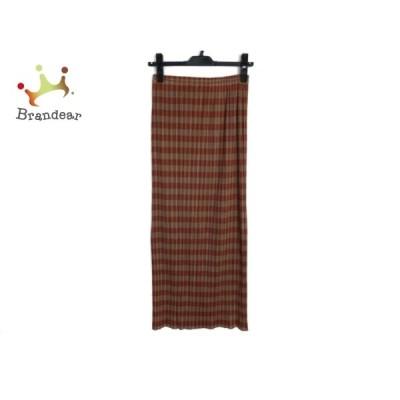 プリーツプリーズ PLEATS PLEASE ロングスカート サイズ3 L レディース - カーキ×ブラウン  値下げ 20210223