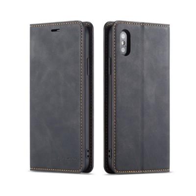 iPhone XS/X ケース アイフォンXS テン エス ケース スマホケース レザーケース カバー 手帳型 グレー
