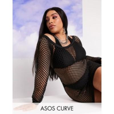 エイソス レディース ワンピース トップス ASOS DESIGN curve jersey fishnet beach cover up with thumb holes in black Black