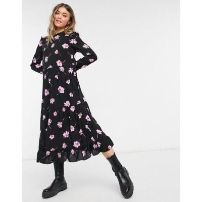 ニュールック レディース ワンピース トップス New Look frill sleeve smock midi dress in pink floral Black pattern