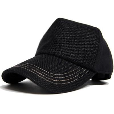 大きいサイズ 帽子 L XL メンズ キャップ 無地ヘンプコットンキャップ オールブラック黒  BIGWATCH 正規品  ダメージ加工無し/ビッグワッチ UVケア