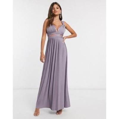 エイソス ASOS DESIGN レディース ワンピース マキシ丈 Asos Design Premium Twist Strap Lace Insert Maxi Dress In Aubergine ディープパープル