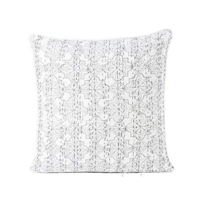 "Eyes of India - 16"" Gray Grey Kantha Decorative Throw Sofa Cushion Pillow C"