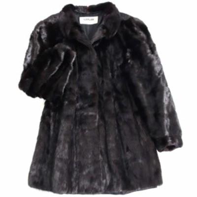 極美品▼3 SAGA MINK サガミンク 裏地刺繍入り 本毛皮コート ブラック F 毛質艶やか・柔らか◎