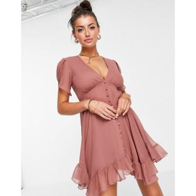 エイソス ASOS DESIGN レディース ワンピース ミニ丈 ワンピース・ドレス button through mini dress with drape sleeve ローズ
