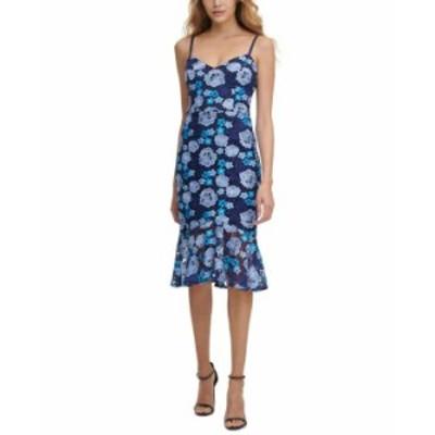 ゲス レディース ワンピース トップス Floral Lace Midi Slip Dress Blue/navy