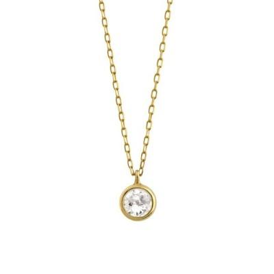 ネックレス 【ESTELLE/エステール】4月誕生石 K10 イエローゴールド ダイヤモンド クォーツ 2way ネックレス