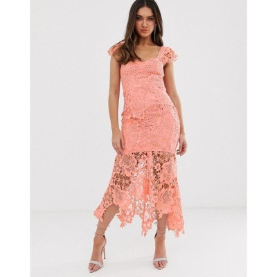 ラブトライアングル レディース ワンピース トップス Love Triangle sweetheart neck lace dress with cupped top in soft coral Soft coral