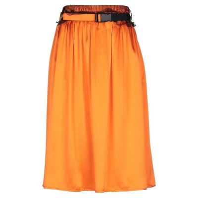 QUETSCHE ひざ丈スカート ファッション  レディースファッション  ボトムス  スカート  ロング、マキシ丈スカート オレンジ
