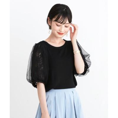 【HAPPY急便 by VERITA.JP】 袖レース&チュールサマーニット レディース ブラック 【M】 HAPPY EXP