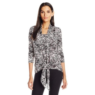 NY Collection Women's Printed 3/4 Sleeve Tie Front 2-fer Wth Shawl Col