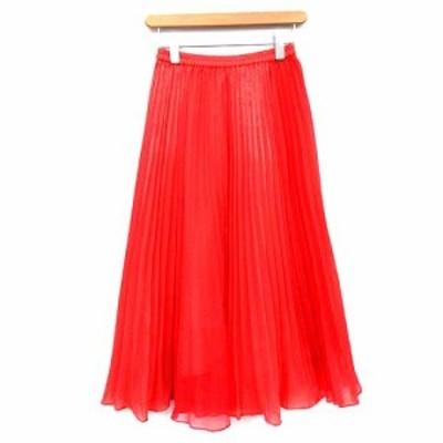 【中古】ダイアグラム Diagram 19SS スカート ロング プリーツ フレア 透け感 36 赤 朱色 /☆G レディース