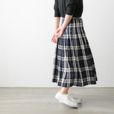 オニール オブ ダブリン スカート チェック 巻きスカート リネン タック ラップスカート N0D0901