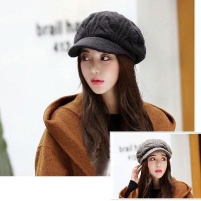 母の日  帽子 レディース ニット帽 つば付きハット キャスケット ニットキャップ ファッション 女性 可愛い ふわふわ 小顔効果