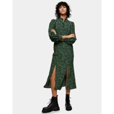 トップショップ レディース ワンピース トップス Topshop peacock print midi dress in green Green