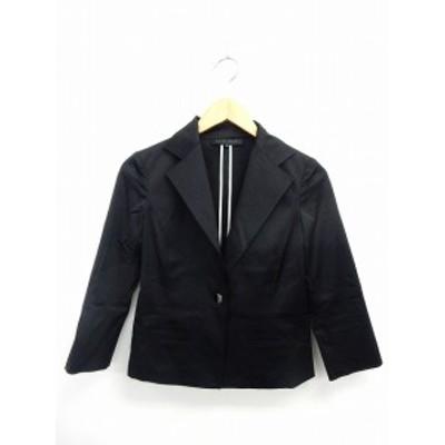 【中古】モガ MOGA ジャケット アウター テーラード 長袖 ポケット 無地 シンプル 2 黒 ブラック /ST9 レディース