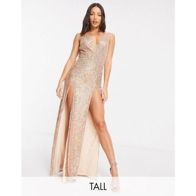 ジェイデッドローズ Jaded Rose Tall レディース ワンピース マキシ丈 Exclusive Sequin Plunge Maxi Dress With Double Thigh Split ゴールド