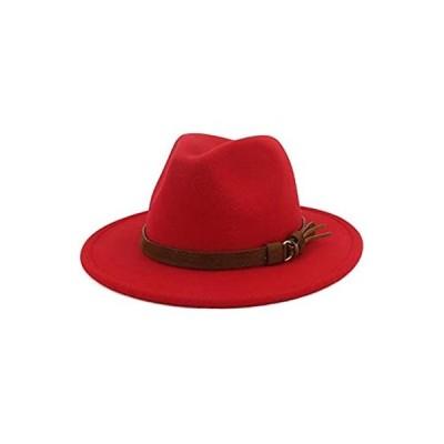 HUDANHUWEI Unisex Wide Brim Felt Fedora Hats Men Women Panama Trilby Hat wi